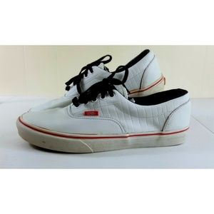 Vans Mens Size 10 Sneakers White Leather Lace Up